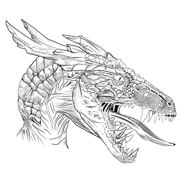 Illustration Originale D Une Tete De Dragon Monstre Dans Un Style