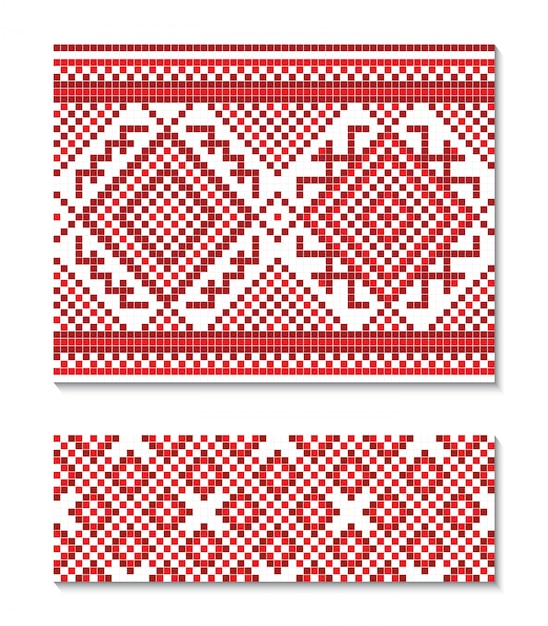 Illustration d'ornement ukrainien sans soudure. Vecteur Premium