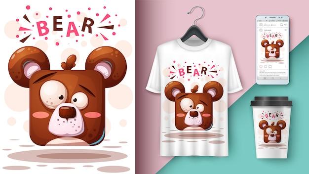 Illustration d'un ours en dessin animé pour t-shirt, tasse et smartphone Vecteur Premium