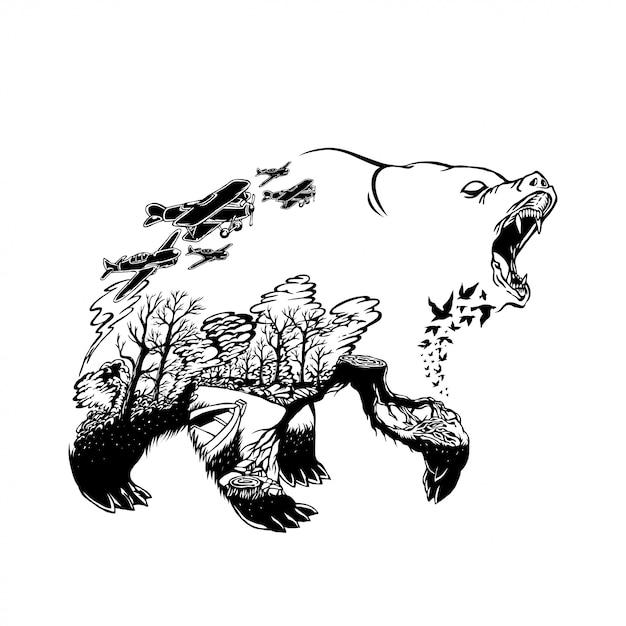 Illustration d'un ours avec fond de feux de forêt Vecteur Premium