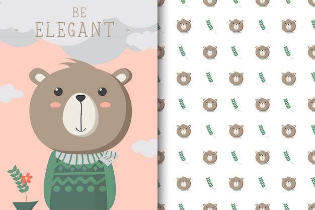 Illustration D'ours Mignon Avec Un Motif Sans Soudure Dans Le Fond Blanc Vecteur Premium