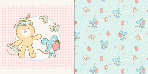 Illustration de ours et souris kawaii mignon et modèle sans couture Vecteur Premium