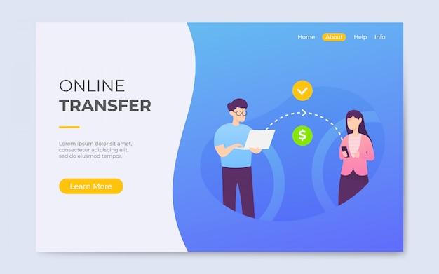 Illustration de page d'atterrissage de transfert en ligne de style plat moderne Vecteur Premium