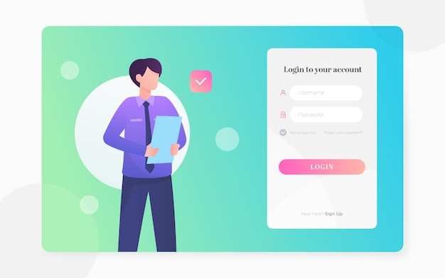 Illustration de page de connexion plat moderne Vecteur Premium