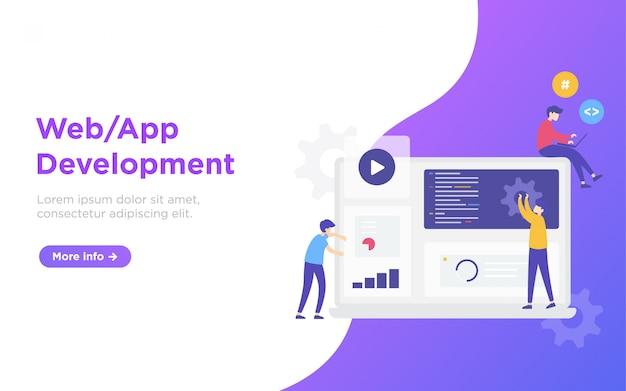 Illustration de la page de destination du développement web Vecteur Premium