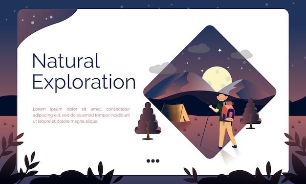 Illustration de la page de destination, exploration naturelle Vecteur Premium