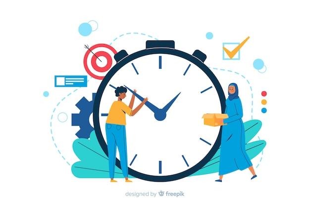 Illustration de la page de destination de la gestion du temps Vecteur gratuit