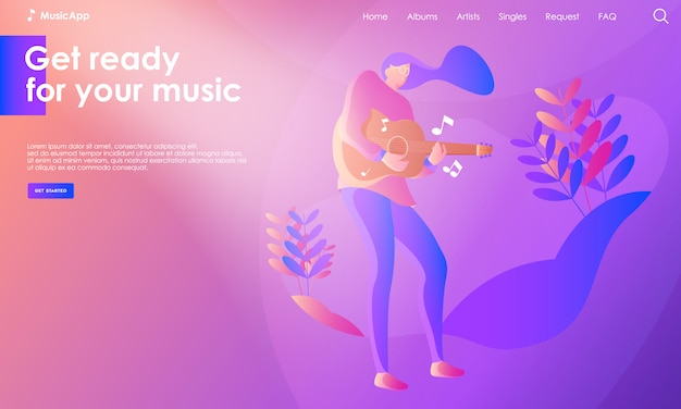 Illustration de la page de destination de la musique Vecteur Premium
