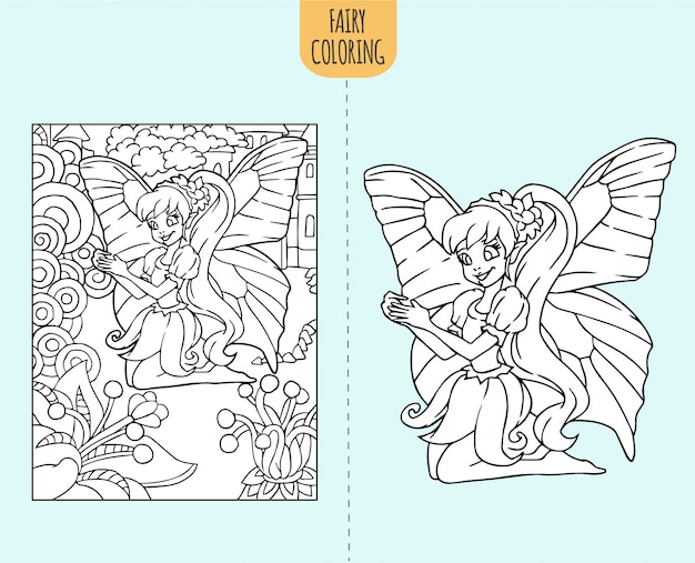 Illustration De Page De Livre De Coloriage Fee Dessine A La Main Pour Les Enfants Vecteur Premium