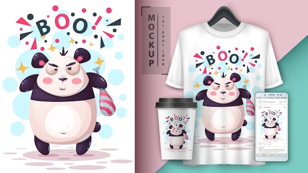 Illustration d'un panda maléfique Vecteur Premium