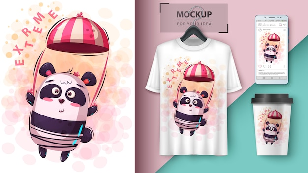 Illustration de panda en parachute Vecteur Premium