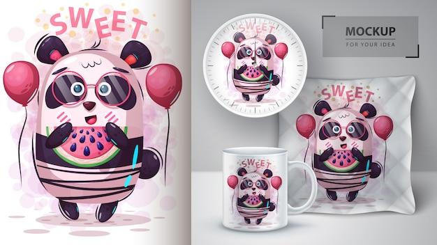 Illustration de panda de pastèque et merchandising Vecteur Premium