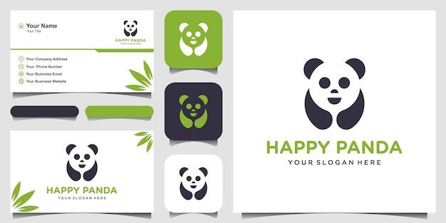 Illustration De Panda. La Tête De Panda. Visage Animal Souriant. Logotype D'ours Chinois En Bambou. Symbole Du Carnaval. Image Mignonne. Et Carte De Visite Vecteur Premium