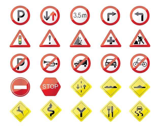 Illustration De Panneaux De Signalisation Vecteur Premium