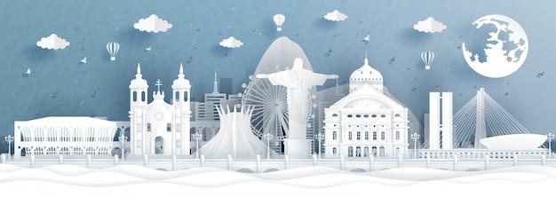 Illustration panoramique avec des monuments célèbres Vecteur Premium