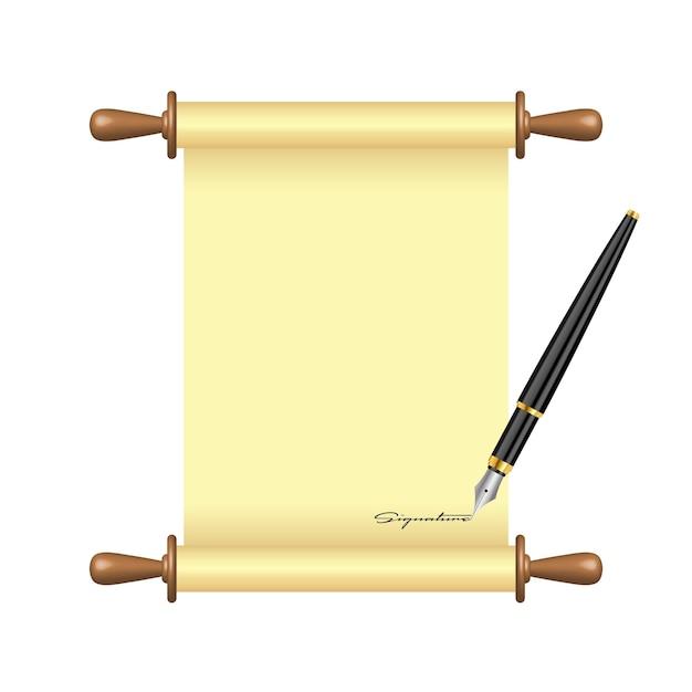 Illustration De Papier De Défilement De Signes De Stylo à Encre Vecteur Premium
