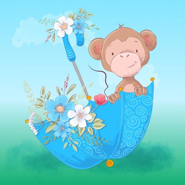 Illustration de parapluie mignon de singe et de fleurs. style de bande dessinée. vecteur Vecteur Premium