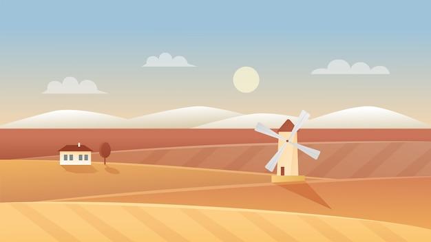 Illustration De Paysage De L'agriculture D'automne. Paysage De Panorama Automnal Avec Moulin à Vent Et Maison De Village Agricole Sur Champ De Blé Biologique Rural, Fond De Scène Agricole De Terres Agricoles Vecteur Premium