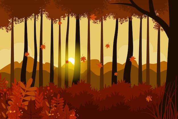 Illustration de paysage d'automne Vecteur Premium