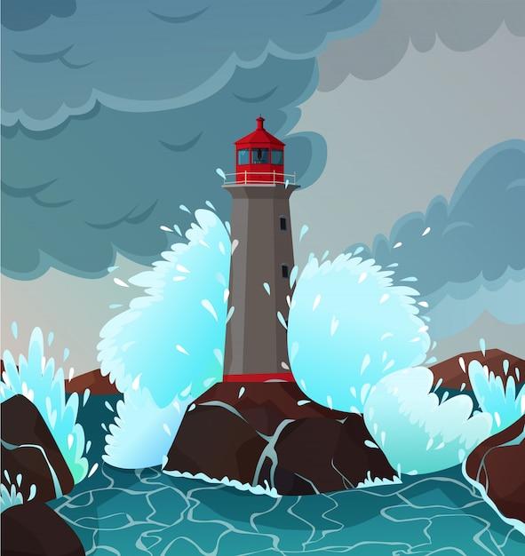 Illustration De Paysage De Bord De Mer Orageux Vecteur gratuit