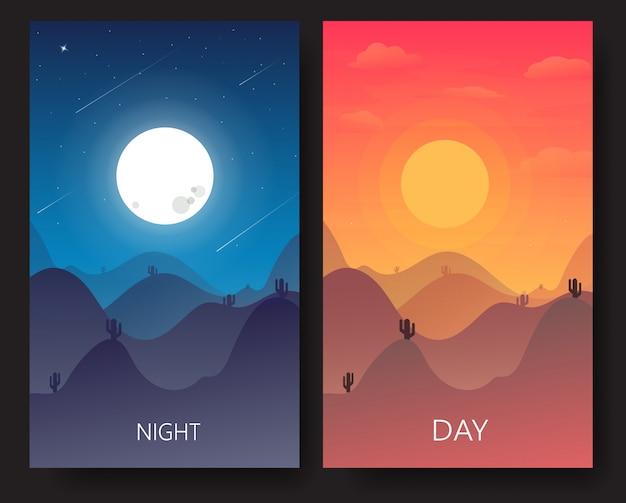 Illustration de paysage de jour et de nuit Vecteur Premium