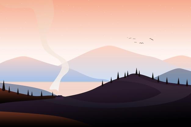Illustration de paysage de montagne Vecteur Premium