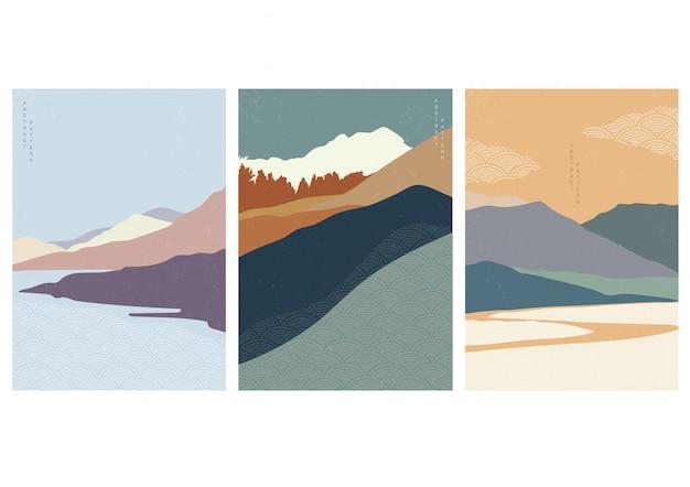 Illustration De Paysage Avec Style De Vague Japonaise. Conception De Montagne Dans Un Style Oriental. Vecteur Premium