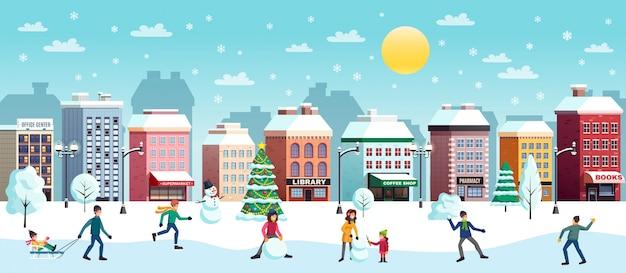 Illustration De Paysage De Ville D'hiver Vecteur gratuit