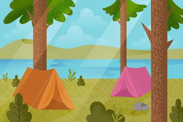 Illustration De Paysage De Zone De Camping Avec Tentes Et Forêt Vecteur gratuit
