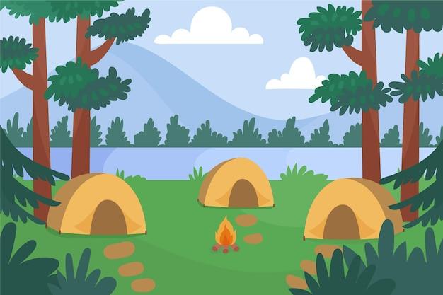 Illustration De Paysage De Zone De Camping Vecteur gratuit
