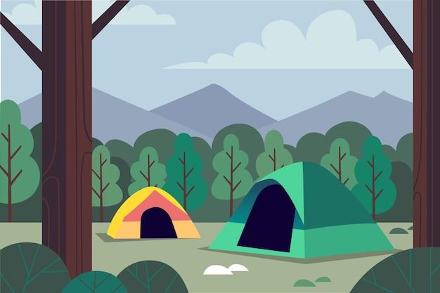 Illustration De Paysage De Zone De Camping Vecteur Premium