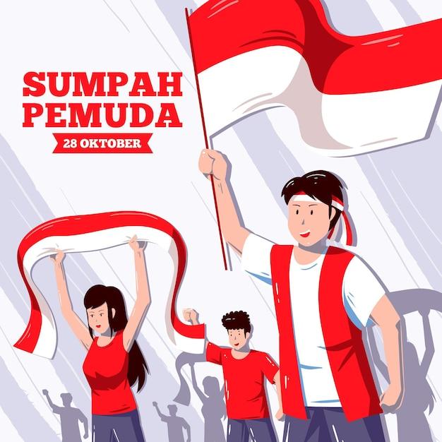 Illustration De Pemuda Sumpah Dessiné à La Main Vecteur gratuit