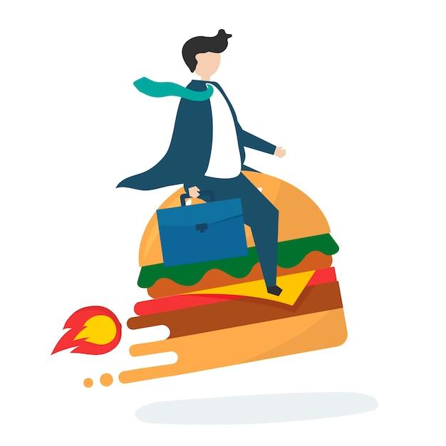 Illustration d'un personnage d'affaires avec une restauration rapide Vecteur gratuit