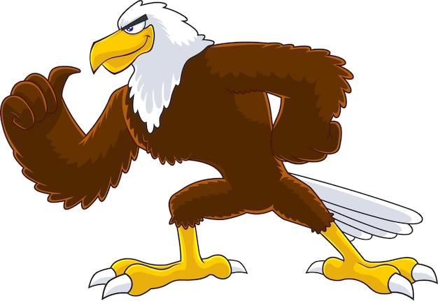 Illustration De Personnage De Dessin Animé Oiseau Aigle Isolé Vecteur Premium