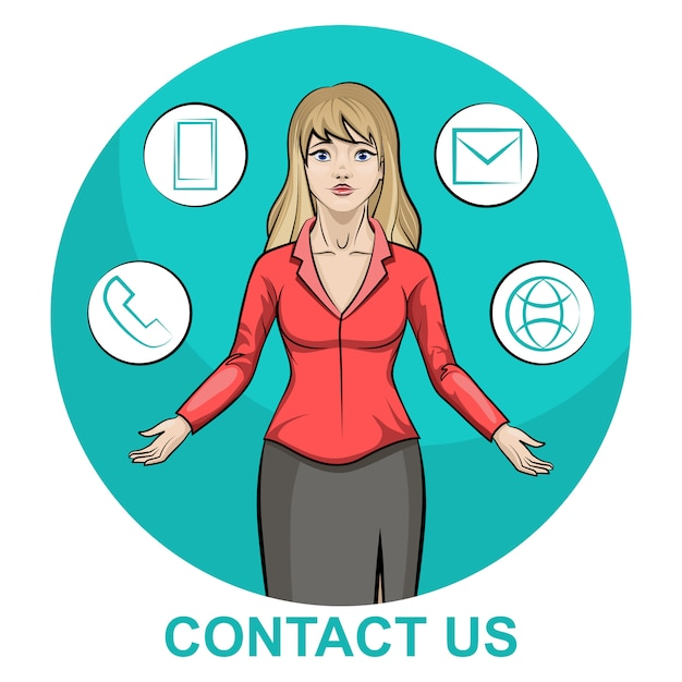 Illustration D'un Personnage De Femme D'affaire Blonde Avec Infographie Contactez-nous Vecteur Premium