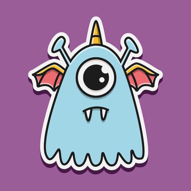 Illustration De Personnage De Monstre Kawaii Doodle Vecteur Premium