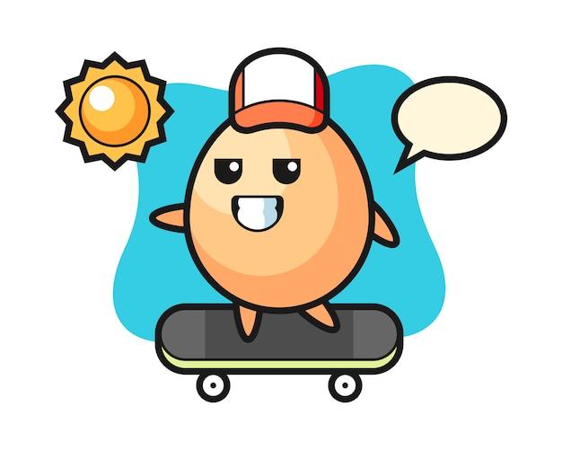 Illustration De Personnage D'oeuf Monter Une Planche à Roulettes, Style Mignon Pour T-shirt, Autocollant, élément De Logo Vecteur Premium