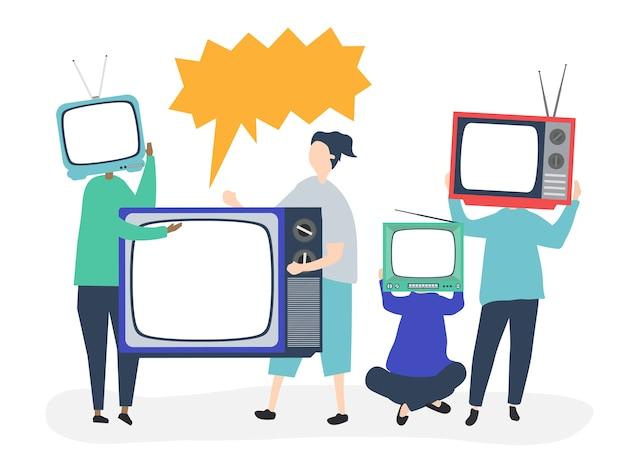 Illustration de personnage de personnes avec des icônes de télévision analogique Vecteur gratuit