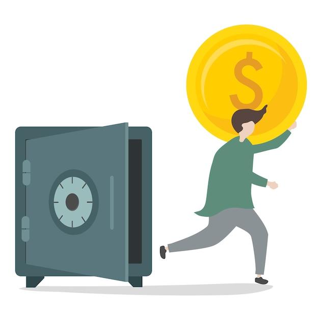 Illustration d'un personnage qui retire de l'argent Vecteur gratuit