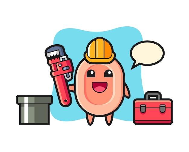 Illustration De Personnage De Savon En Tant Que Plombier, Style Mignon Pour T-shirt, Autocollant, élément De Logo Vecteur Premium