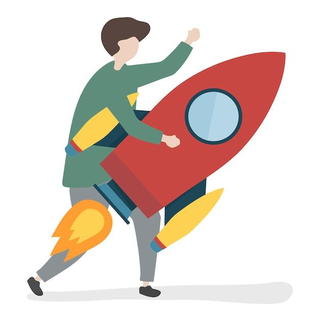 Illustration d'un personnage tenant une fusée Vecteur gratuit