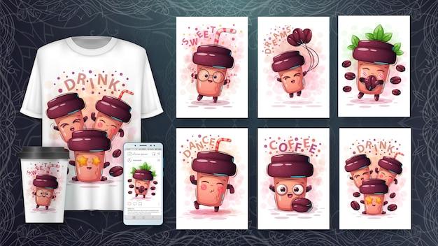Illustration de personnages de dessin animé mignon et merchandising Vecteur Premium