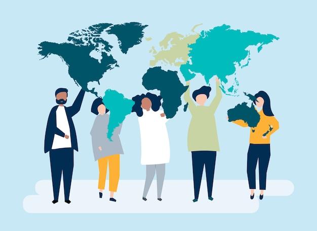 Illustration de personnages de divers peuples et du monde Vecteur gratuit
