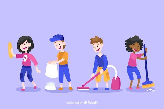 Illustration de personnages minimalistes faisant la collection de travaux ménagers Vecteur gratuit