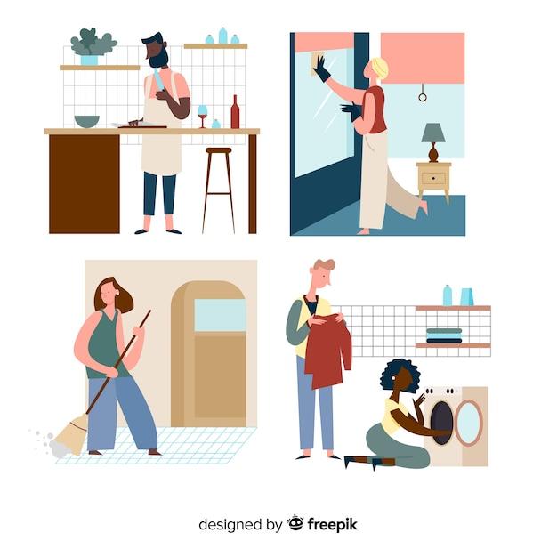 Illustration de personnages minimalistes faisant le ménage Vecteur gratuit