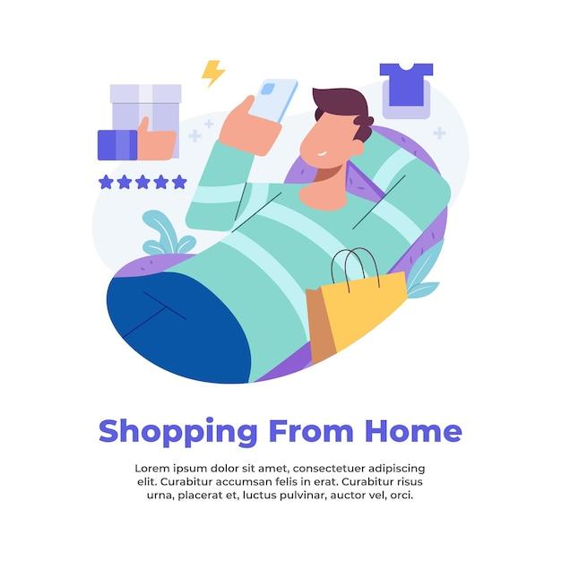 Illustration D & # 39; Une Personne Faisant Du Shopping à Domicile Pendant Une Pandémie Vecteur Premium