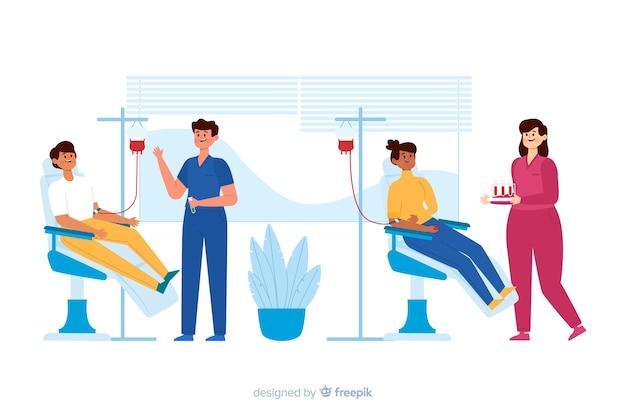 Illustration d'une personne qui donne du sang Vecteur gratuit