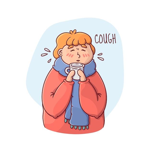 Illustration D'une Personne Avec Un Rhume Vecteur gratuit