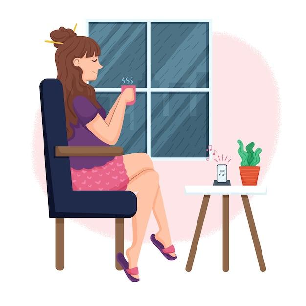 Illustration Avec Personne Se Détendre à La Maison Vecteur gratuit