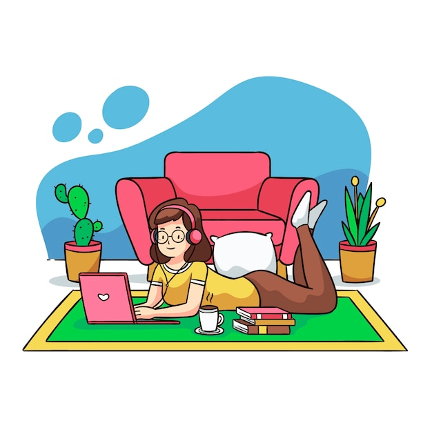 Illustration D'une Personne Se Détendre à La Maison Vecteur gratuit